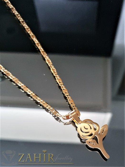 Лазерно изрязана стоманена роза 3 см на колие 42 см - K1836