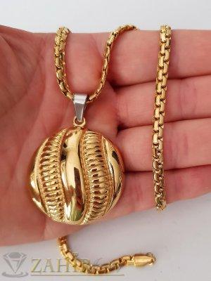 Елегантен стоманен змийски ланец 52 см с гравиран позлатен медальон 3,5 см - K1842