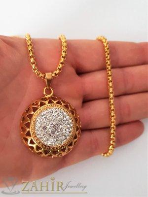 Великолепна позлатена висулка с кристали 3,2 см на позлатен стоманен ланец 60 см - K1844