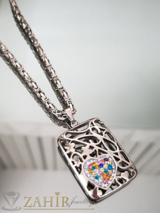 Великолепна стоманена висулка 3,5 см с цветно сърце с кристали на стоманен ланец 55 см - K1853