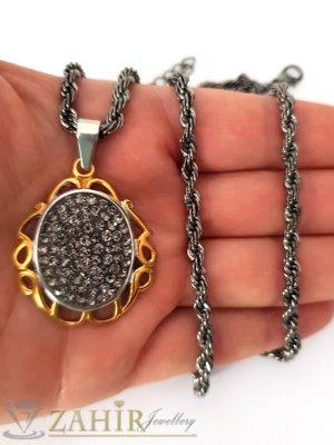 Стоманен медальон с графитени кристали 3,2 см на оксидиран ланец 60 см  - K1870