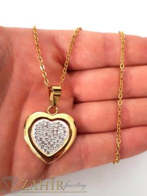 Романтично позлатено сърце 1,8 см с бели кристали на тънко позлатено колие 48 см - K1873