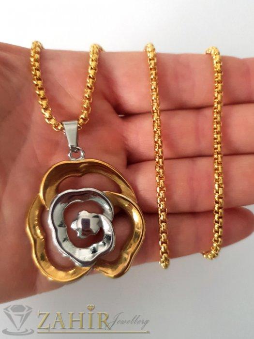 Дамски бижута - Романтична стоманена двуцветна роза 3,5 см на класически позлатен ланец 60 см - K1876