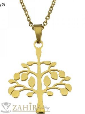 Позлатена стоманена висулка Дървото на живота 3,5 см на тънък ланец 45 см - K1878