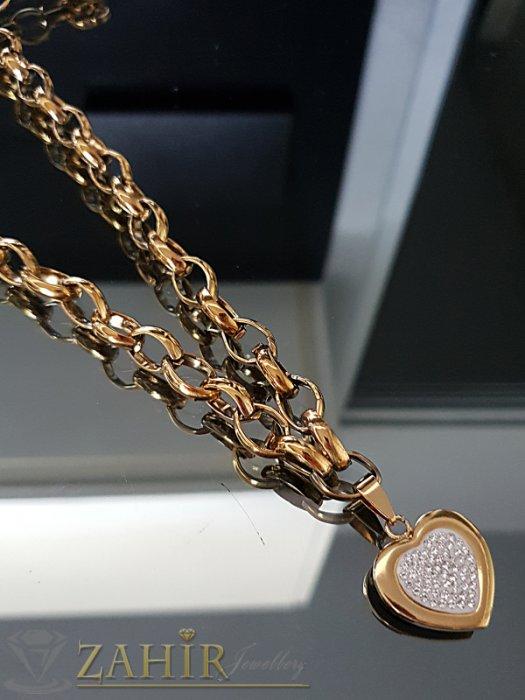 Висококачествен стоманен ланец в 2 размера с висулка кристално сърце 2 см - K1882