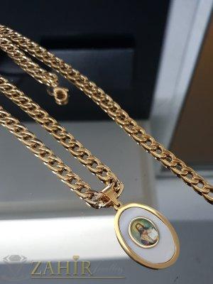 Класически стоманен ланец в 3 размера, широк 0,6 см със седефена висулка с Исус 3,5 см - K1888