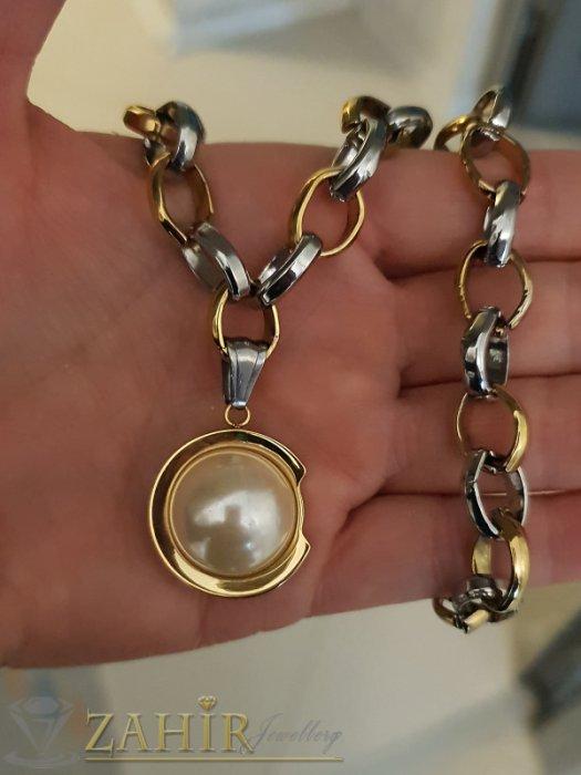 Дамски бижута - Атрактивен двуцветен дамски ланец в два размера с перлена висулка 2,5 см - K1894