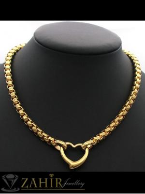 Впечатляващ дамски ланец в 2 размера с висулка рязано сърце 2 см, позлатена стомана - K1898