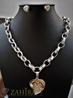 Великолепен стоманен комплект с лезерно гравиран0 сърце, ланец 42 см + 3 см и обеци 1,8 см - KO1819