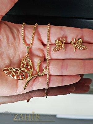 Комплект изящни стоманени пеперуди, колие 50 см с висулка 3,5 см и обеци 1,5 см, позлатени - KO1839