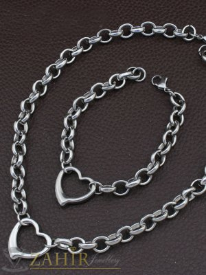 Непроменящ цвета си висококачествен стоманен комплект със сърца, ланец и гривна в 4 размера  - KO1847
