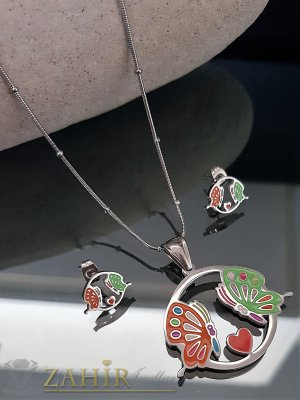 Комплект от рисувани стоманени пеперуди, колие 60 см с висулка 3 см и обеци 1,3 см - KO1856