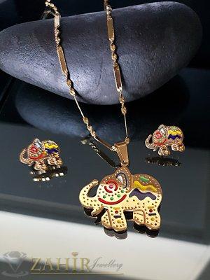 Великолепен комплект с гравирани слоновe, колие 53 см с висулка 3,5 см и обеци 1,5 см - KO1885