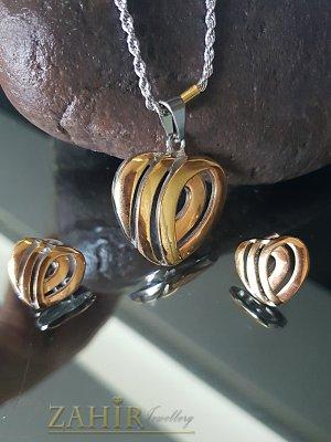 Двуцветен стоманен комплект със сърца, колие 48 см с медальон 3 см и обеци 1,7 см - KO1900