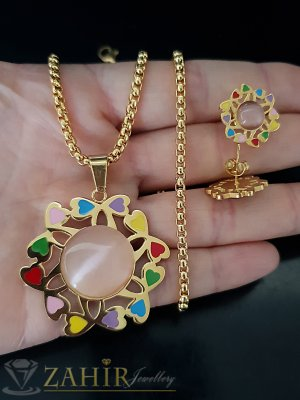 Изящен цветен стоманен комплект, медальон 3,5 см на ланец в 3 размера, и обеци 1,5 см - KO1916