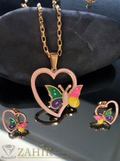 Цветни стоманени пеперуди в сърца, колие 48 см с висулка 3 см и обеци 1,5 см - KO1922