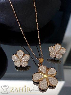 Комплект перлени стоманени цветя на колие в 3 размера с висулка 3 см и обеци 2 см - KO1936