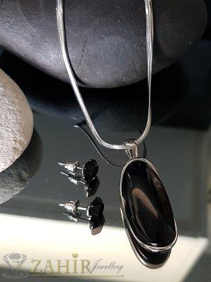 Великолепен медальон с черен камък 4 см на стоманен ланец 52 см и обеци 1 см - KO1943