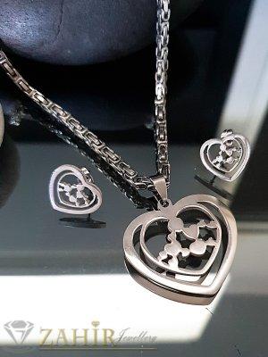 Изящен стоманен комплект, римски ланец 52 см с медальон сърце 3,5 см и обеци 1,5 см - KO1944