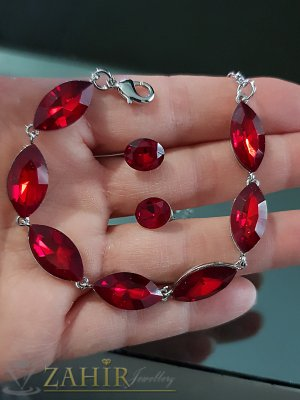 Червен кристален сребрист комплект регулираща се гривна и обеци 1 см на винт - KO1982