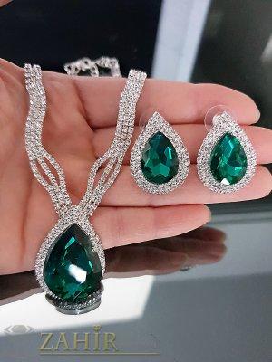Официален комплект с тъмнозелени и бели кристали, регулиращо се колие и обеци на винт 3 см - KO1987