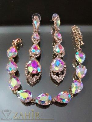 Луксозен кристален хамелеон комплект регулираща се гривна и обеци 8 см - KO1992
