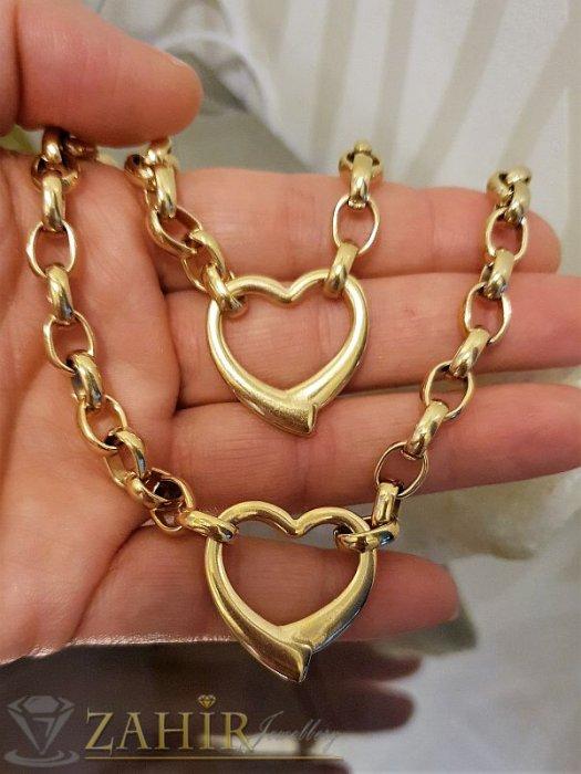 Висококачествен стоманен позлатен комплект със сърца, ланец 45 см,  гривна 19 см - KO1784