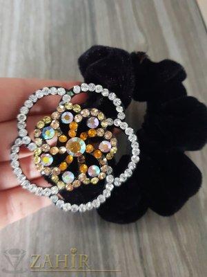 Оранжево-бяло метално цвете с кристали на черен велурен ластик - LK1088