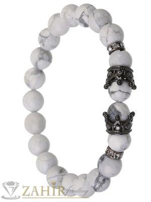 Бяла гривна от хаулит 8 мм с две черни корони с ковани кристали и разделители, 7 размера - MGA1401