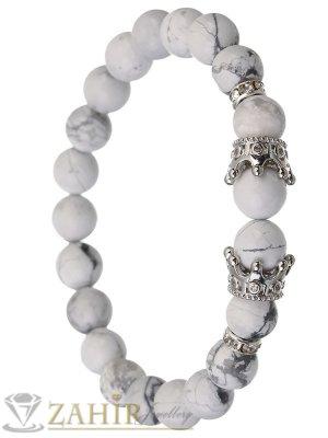 Бяла гривна от хаулит 8 мм с две сребристи корони с ковани кристали и разделители, 7 размера - MGA1402