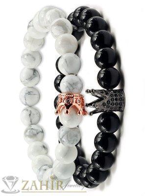 Двойна гривна от бял хаулит и 2 модела черни камъни с корони, 7 размера - MGA1450