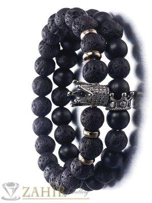 Двойна гривна от лава камъни и оникс 8 мм с черни корони с кристали, 7 размера - MGA1451