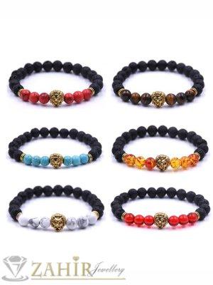 4 модела гривни от ест. камъни с позлатено лъвче, 7 размера - MGA1462