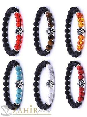 4 модела гривни от ест. камъни със сребристо лъвче, 7 размера - MGA1463