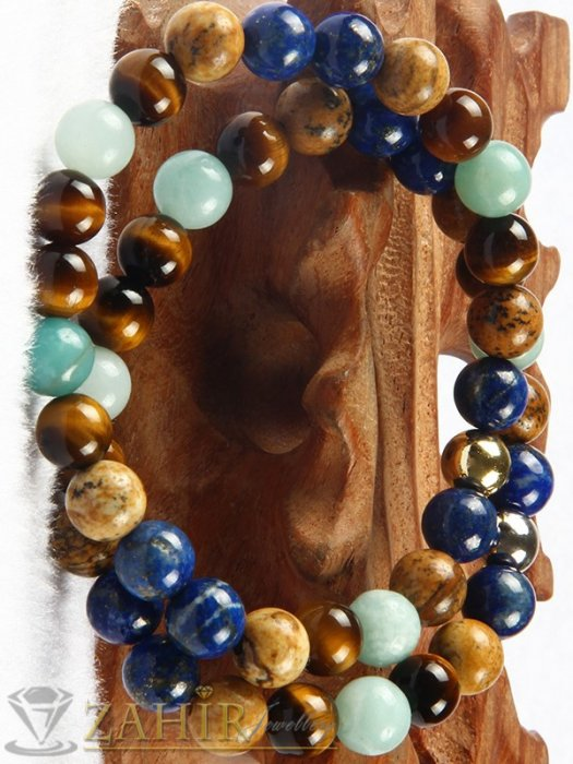 Дамски бижута - Великолепна комбинация 2 гривни от син ахат, яспис, тигрово око и хематит 8 мм, 7 размера - MGA1498