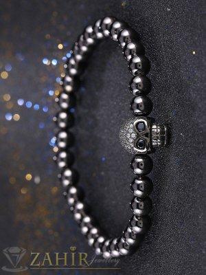 Черен кристален череп на гривна от черен лъскав ахат 8 мм, 7 дължини - MGA1508