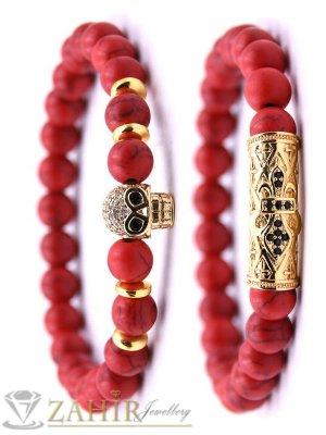 Великолепна двойна гривна от червен хаулит 8 мм с позлатени кристални елементи, 7 размера - MGA1511