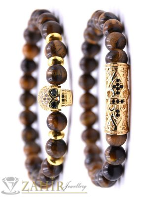 Великолепна двойна гривна от тигрово око 8 мм с позлатени кристални елементи, 7 размера - MGA1512