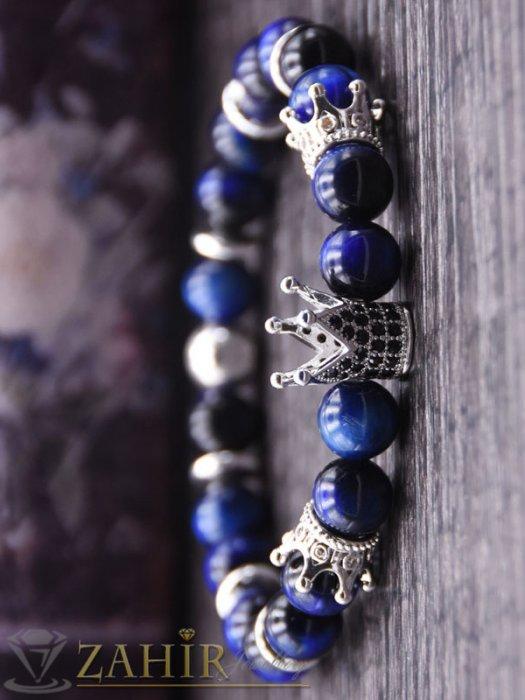 Сребристи кристални корони на синя гривна от ахат 8 мм с черни микроелементи, 7 размера - MGA1526