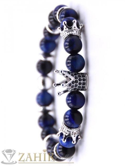 Дамски бижута - Сребристи кристални корони на синя гривна от ахат 8 мм с черни микроелементи, 7 размера - MGA1526