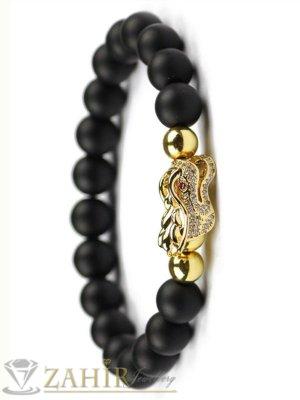 Изключителна позлатена драконова глава с бели микрокристали на черна гривна от оникс 10 мм, 7 размера - MGA1527