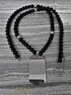 Изчистен войнишки медальон от стомана 4 см на семпла черна броеница от оникс 65 + 5 см - MK1300