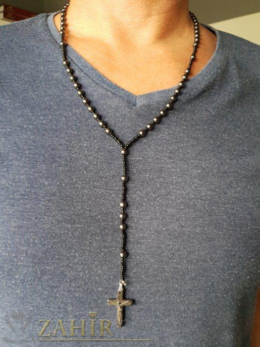 Бижута за мъже - Класическа броеница от хематит 65 + 15 см с висулка кръст от хематит 3 см - MK1301