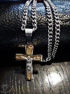 Непроменящ цвета си стоманен ланец 56 см класическа плетка с висулка стоманен кръст с Исус 6 см - ML1298