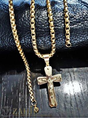 Двойно позлатен стоманен кръст 6 см с Исус на позлатен ланец 60 см, широк 0,5 см - ML1301