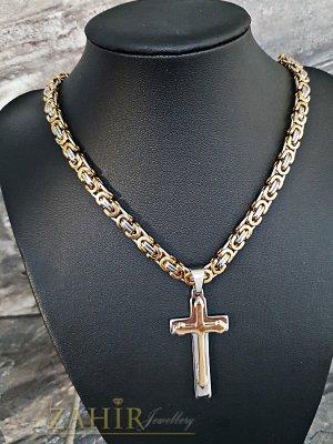 Класически стоманен ланец в два цвята златно и сребърно 60 см с изчистен стоманен кръст 5 см - ML1327