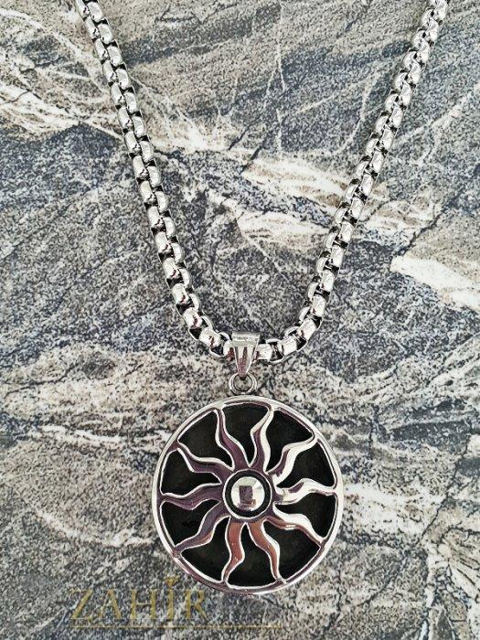 Изящен медальон с 2 лица от неръждаема стомана 3,5 см на висококачествен стоманен ланец 60 см - ML1328
