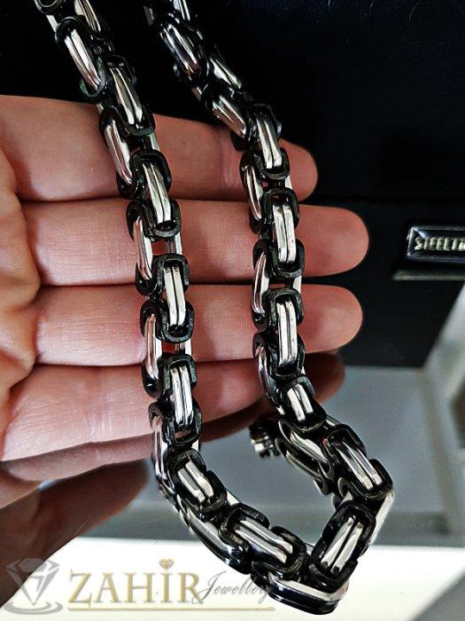 Масивен 3D ланец от стомана с черни елементи, дълъг 60 см, широк 0,9 см - ML1353