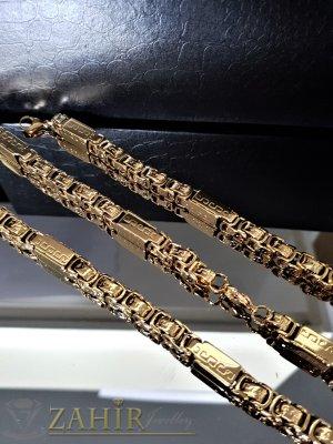 Масивен стоманен комплект едра римска плетка, ланец 59 см, гривна 22 см, широки 0,8 см - ML1358