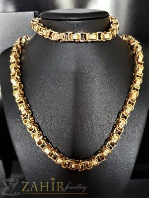 Едър стоманен позлатен комплект римска плетка, ланец 59 см, гривна 23 см, широки 0,8 см - ML1360